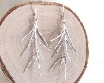 Silver Twig Earrings Earrings, Silver Branch Earrings, Woodland Earrings, Woodland Jewelry - Sterling Silver Ear Wires