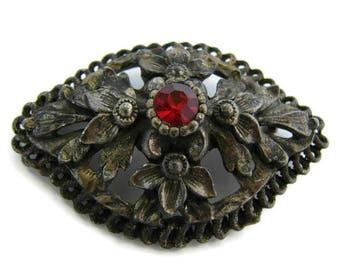 Large bronze brooch Statement brooch Red crystal brooch Art nouveau pin Flower jewelry Mother brooch gift Rhinestone Brooch Ornate Brooch