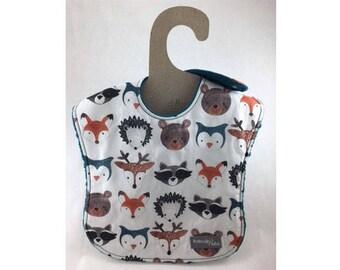 Baby boy bib, baby girl bib, leakproof bib, 1st birthday bib, fox bib, shower gift ,woodland baby, ready to ship, forest animal bib, raccoon