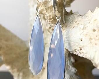 Sky Blue Chalcedony Earrings | Blue Earrings | Bridesmaid, Gift for Her, Gift for Mom, Statement Earrings | Blue, Silver
