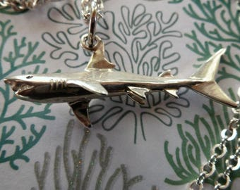 Swimming sterling silver Mako Shark on bright Argentium silver curb chain is bold and sleek on the neck!