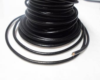 2 Feet  3mm round leather cord in Black