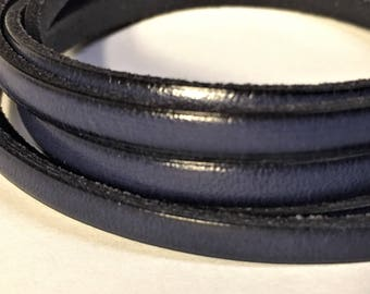 Pre Cuts, No Joins, Navy Blue  5mm Flat Leather, Strap