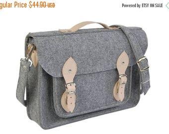 SALE MacBook Pro 13 inch bag , satchel, Laptop bag, case, felt messenger bag with leather straps