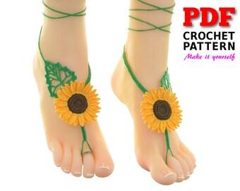 Barefoot Sandals | Crochet Pattern | Barefoot Sandals Pattern | Beach wedding |SUNFLOWER