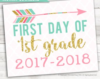 """First Day of 1st Grade, 2017-2018, 1st Grade  Photo Prop, Pink and Gold, 1st Day 1st Grade , First Day 1st Grade , 1st Grade Sign, 8""""x10"""""""
