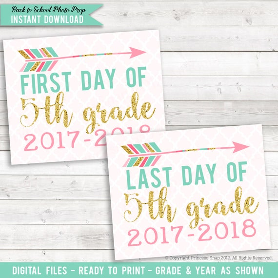 Items similar to First and Last Day of 5th Grade, Arrow ...