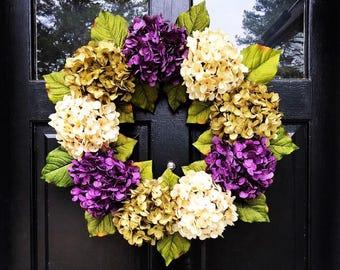 HYDRANGEA SPRING WREATH, Farmhouse Wreath, Rustic Wreath, For Front Door, Purple White and Green Wreath, Hydrangea Easter Wreath