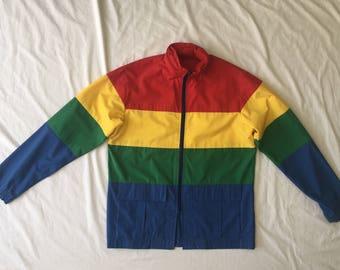 Vintage 1980's Men's Rainbow Windbreaker/Jacket