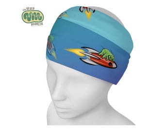 Tardigrade headband - quick-dry science fashion - tardigrade on a rocket ship athletic hair band