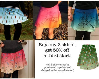 Ombre flare skater skirt set of three for the science fashionista