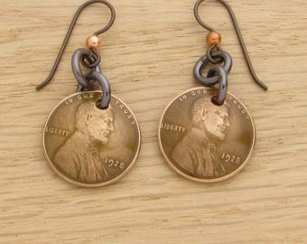 For 90th: 1928 Dark Copper US Penny Earrings 90th Birthday Gift Coin Jewelry