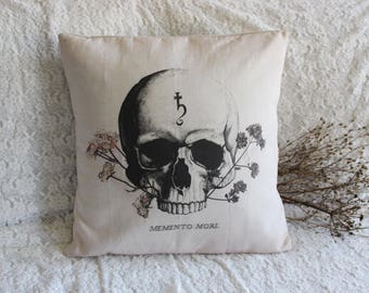 Memento Mori . cover cushion pillow organic cotton print vintage skull & alchemy for cabinet of curiosity witchcraft magic decor .