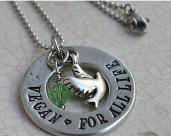 """ON SALE Vegan Jewelry , vegan necklace Raw Vegan 80 10 10 Hand Stamped Pewter Washer Necklace, """"Vegan, For All Life"""" with 2 charms"""