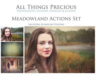 45 Actions. 10 Textures. Fine Art Digital MEADOWLAND ACTIONS Set.