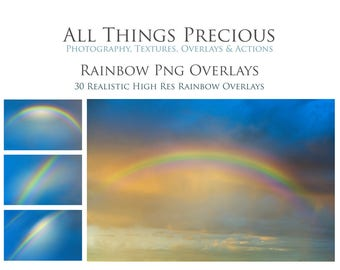 30 High Res Fine Art Digital Realistic PNG RAINBOW Overlays