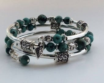 MEMORY WIRE BRACELET, African Turquoise Gemstones,  Memory Wire, Wrap Bracelet, Coil Bracelet, Spacer Beads