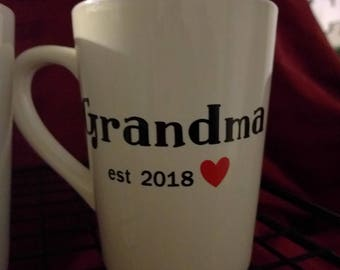 Grandma Coffee Cup, Birth Announcement, Baby Announcement, Grandma Gift