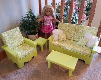 Living Room Set For American Girl Doll (Green) Part 55