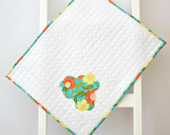 """SHOP CLOSING - SALE - Homemade Doll Quilt, 18"""" doll bedding, modern blanket, doll accessory, modern baby quilt, modern baby blanket"""