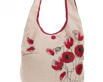 Shoulder bag poppies, fabric red cream, delicate style