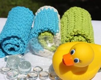 Blue Green Crochet Baby Washcloth Set - Gender Neutral Baby Gift- Cotton Crochet Washcloths- Striped Washcloth