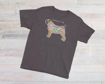 YOUTH TEE - Anatomy of a Pug - Funny Pug Dog Tee - Youth Short Sleeve T-Shirt