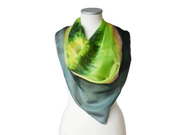 Silk scarf Hand painted- Green scarf kiwi- Square scarf green yellow- Kiwi fruit scarf- Womens silk scarf- Emerald green scarf- Silk scarves