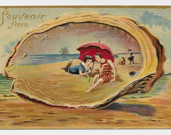 Seashell Romantic Couple Postcard, c. 1910