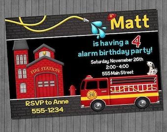 ON SALE Fire Truck Birthday Invitations