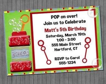 FLASH SALE Bubble Birthday Invitations