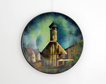Beautiful Large Vintage Enamel Plate // Dekor Zagreb Yugoslavia // Signed Maslač M. Hand Painted Enamel Over Metal