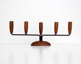 Vintage 1950s Danish Teak Candelabra // Mid Century Modern Candle Holder Scandinavian Design