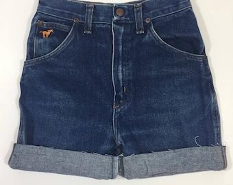High waist Denim Shorts - Wrangler Jeans - Size 24 XS 0 - High Waisted Jean Shorts - Cut Off Shorts - Vintage Jean Shorts - 1980's Wranglers
