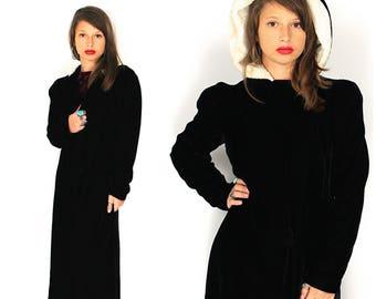 Vintage Velvet Opera Coat - 1930s 1940s Black Silk Velvet Hooded Opera Coat Cape - 30s 40s Black Velvet Maxi Opera Cloak Coat - Velvet Cape