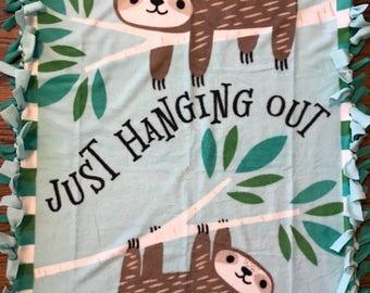 Sloth Fleece Tie Blanket