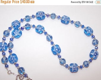 20%OFF Blue Floral and Silver Crystal Necklace