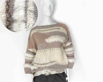 The Head in The Clouds Vintage 80s Fuzzy Sweater Mixed Media Novelty Womens Top, M Boho Jumper Mohair Wool Alpaca