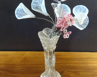 Antique Opaline Blown Lilly's and French Seed Bead Flower Bouquet