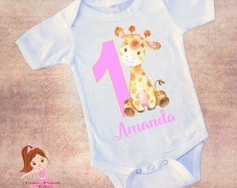 Birthday Baby Girraffe; Onezee Dress Or Shirt And Personalized For Free; Name And Number Color Can Change Fast Shipping;6 Months & Up