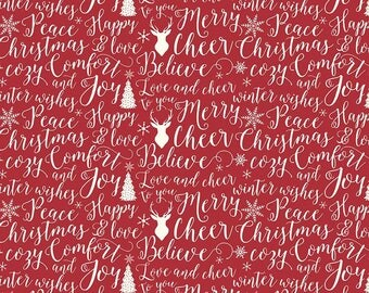 Comfort Words, Comfort & Joy by Riley Blake, by Dani Mogstad for My Mind's Eye, Christmas Fabric, Fabric by the Yard, quilters cotton