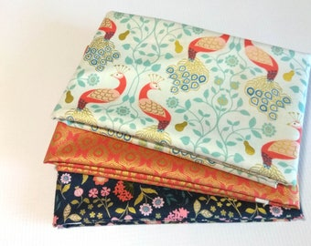 Chieveley Fabric Bundle, Chieveley by Lewis & Irene, peacock, pear, feathers, floral metallic fabric bundle, fabric bundle for quilting
