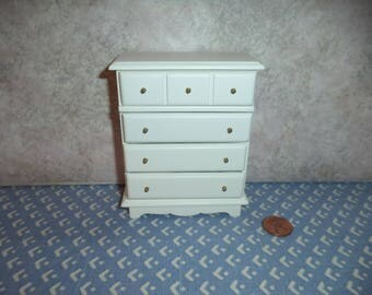 1:12 scale dollhouse miniature white wood dresser
