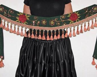 Gypsy belt, Belly dancing belt, Tribal belt, Green tribal gypsy belt, Belly dance belt, Gypsy tassel belt, Gypsy sequin belt, Gypsy, Tribal