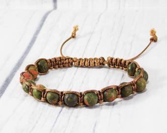 Father day gift/for/men bracelet/for/him jewelry unisex bracelet Unakite bracelet gemstone bracelet unakite jewelry shamballa bracelet mens