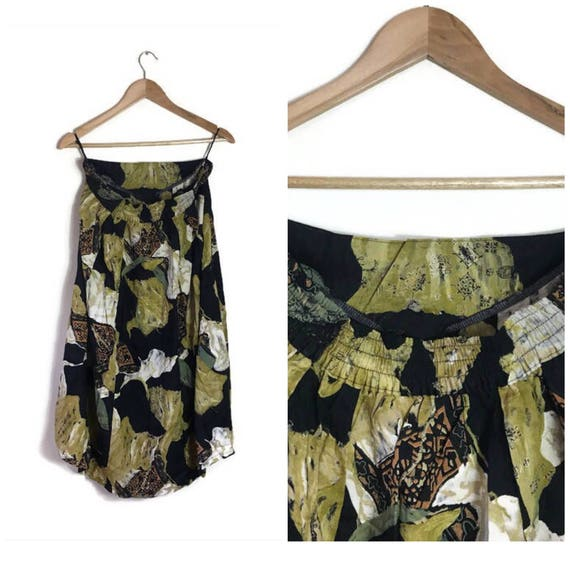 Vintage 90s grunge skirt / abstract 90s summer skirt mid to long length / navy and green patterned skirt / floaty 90s skirt / UK 14 16