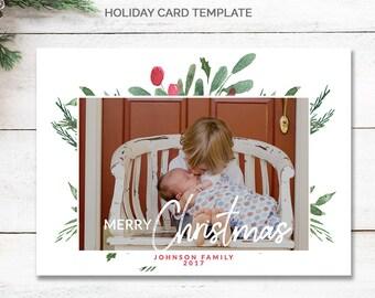 One Photo Christmas Card Template, Script Merry Christmas, Holiday Card Design, Christmas Cards With Photo Holiday Card Printable, mc187