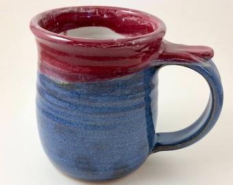 Wheel Thrown Pottery Mug, Blue Pottery Mug, Pottery Mug, Stoneware Mug, Coffee Mug, Microwave Safe Mug , 15 Oz Mug,  Handmade Mug