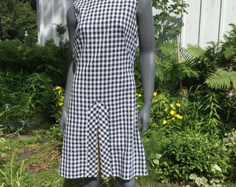 SALE Vintage black gingham dress , 60s scooter ,  mod  60s dress ,