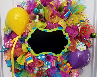 Happy Birthday Wreath with chalkboard and balloons READY TO SHIP